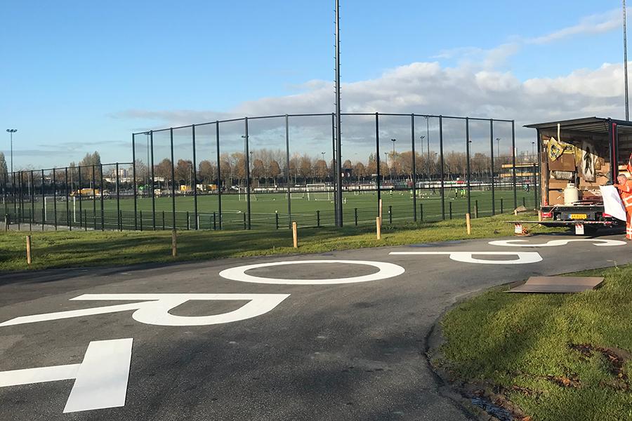 Markering Stadion park en Park de Twee heuvels